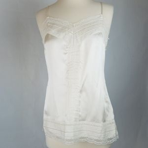WHBM Ivory Pintuck & Lace Camisole Tank Top S